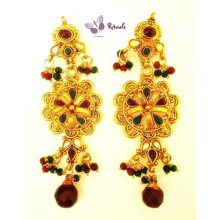 Elegant Gold Plated Earrings Studded With Stones