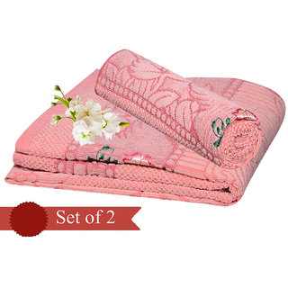 Deal Wala Pack Of 2 Peach Cotton Bath Towel - Hh07