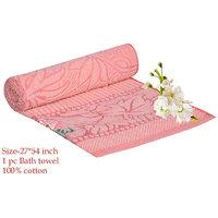 Deal Wala 1 Piece Of Peach Color Cotton Bath Towel - Hh14