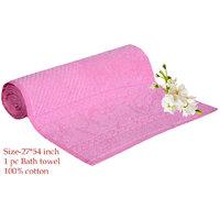 Deal Wala 1 Piece Of  Dark Pink Color Cotton Bath Towel - Hh15