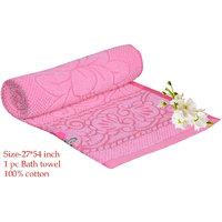 Deal Wala 1 Piece Of  Pink Color Cotton Bath Towel - Hh19