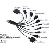 Genuine Universal 10 In 1 Usb Data Cable Car Mobile Charger [CLONE]