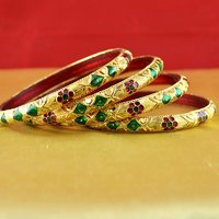 Rajasthani gokharoo,kara churi meenakari,moti,cz,stone,bangles size-2.6