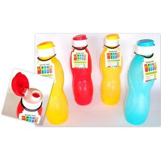 Fridge Water Bottle with FLIP CAP (Set of 4 Pcs)