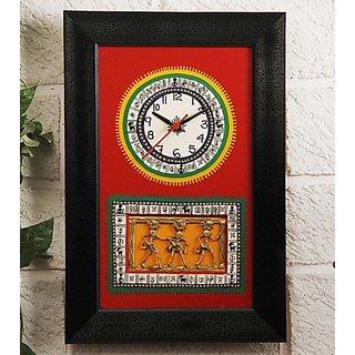 Black & Red Dhokra & Warli Fusion Clock Design 1