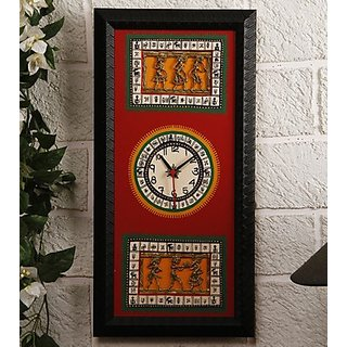 Black & Red Dhokra & Warli Fusion Clock Design 2