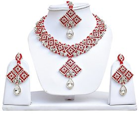 Jewels Capital Exclusive Red White Necklace Set / S 3542