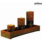 ARTLIVO BOLD RED Candle Stands With Tray CH002