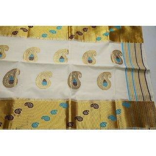 Traditional Indian Kerala Kasavu Sarees  Item code SP1035