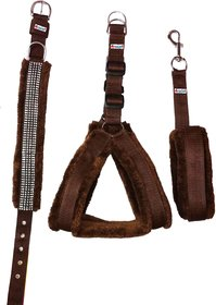 Petshop7 Nylon Brown fur 1.25 Inch Large Dog Harness, Dog Collar  Leash (Chest Size  28-34 inch)