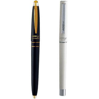 ADD GEL Combo Offer Pack Of 2 Pen Gold Diamond - Roll Tech Gel Roller Pen - Black Set of 3