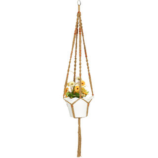 Jute Macrame Plant Hanger, 4 Legs 48 inch Length, #1 Best Recommended For Indoors, Outdoors, Round  Square Pots, Unique