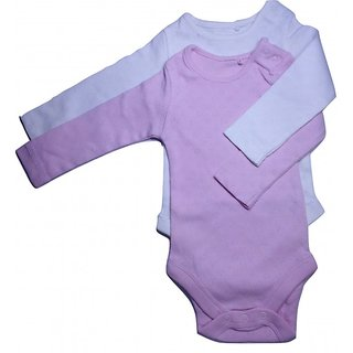 Pink and white Stretchable baby romper Combo (Set of 2)