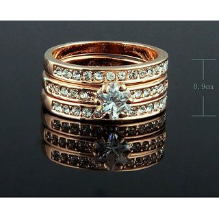 BEAUTIFUL 3 SET OF DIAMOND RING WITH REAL GOLD COATING RING AT LOWEST PRICE