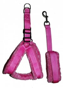 Petshop7 Nylon Dog Harness  Leash set with Fur 0.75 inch Small - Pink ( Chest Size - 25-28 Inch)