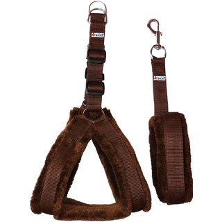 Petshop7 Nylon Dog Harness  Leash set with Fur 1 inch Medium - Brown ( Chest Size - 26-30 )