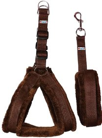 Petshop7 Nylon Dog Harness  Leash set with Fur 1.25 inch Large - Brown ( Chest Size - 28-34 )