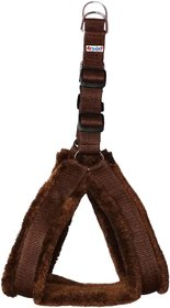 Petshop7 Nylon fur 0.75 Inch Small Dog Harness - Brown ( Chest Size - 25-28 )