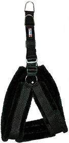 Petshop7 Nylon fur 0.75 Inch Small Dog Harness - Black ( Chest Size - 25-28 )