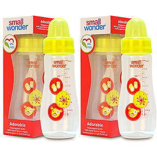 Small Wonder BPA Free Adorable Baby Feeding Bottle  250 ml  Pack of 2