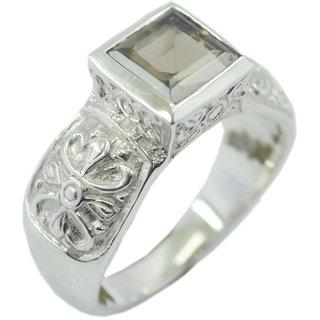 Smoky Quartz 925 Sterling Silver Ring  Brown  Indian gift SRSQU-76351