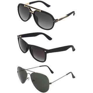Zyaden Combo of 3 Sunglasses Rectangular,Wayfarer & Aviator Sunglasses