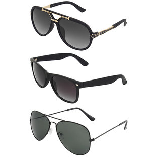 Zyaden Combo of 3 Sunglasses Rectangular,Wayfarer & Aviator Sunglasses