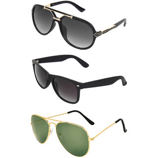 b1efcf885 Buy Zyaden Combo of 3 Sunglasses Rectangular,Wayfarer & Aviator Sunglasses  Online - Get 80% Off
