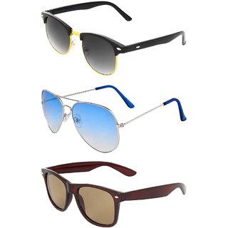 Zyaden Combo of 3 Sunglasses Aviator, Wayfarer & Clubmaster Sunglasses