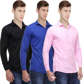 Red Code Solid pack of 3 Casual shirts for men