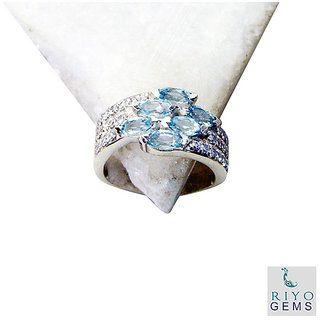 Blue Topaz 925 Sterling Silver Ring stunning Blue india  Indian gift SRBTO7-10051