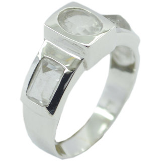 Crystal Quartz 925 Sterling Silver Ring desirable White handmade  Indian gift SRCQU-18021