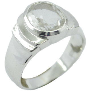 Crystal Quartz 925 Sterling Silver Ring dollish White handcrafted Indian gift SRCQU-18022