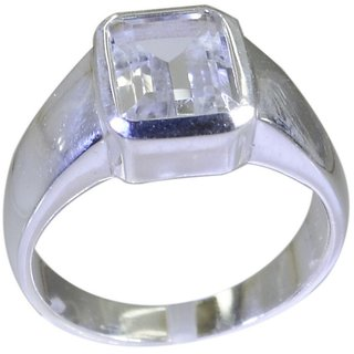 Crystal Quartz 925 Sterling Silver Ring luscious White india  Indian gift SRCQU90-18001