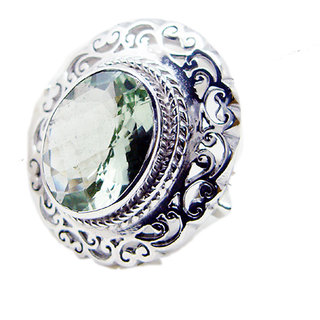 Green Amethyst 925 Sterling Silver Ring seductive Green jewellery Indian gift SRGAM-28301