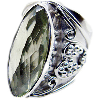 Green Amethyst 925 Sterling Silver Ring inviting Green gemstone Indian gift SRGAM-28303