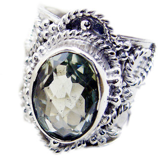 Green Amethyst 925 Sterling Silver Ring mesmeric Green suppiler Indian gift SRGAM-28307