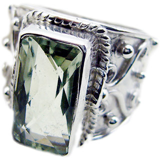 Green Amethyst 925 Sterling Silver Ring shapely Green wholesales Indian gift SRGAM-28311