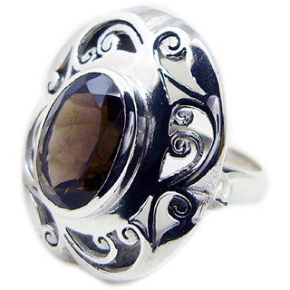 Smoky Quartz 925 Sterling Silver Ring  Brown  Indian gift SRSQU-76301