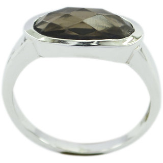 Smoky Quartz 925 Sterling Silver Ring  Brown  Indian gift SRSQU-76333