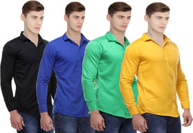 Red Code Solid pack of 4 Casual shirts for men