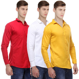 Ankur Enterprises Solid Full Sleeves Casual Poly-Cotton Shirts For Men Combo of 3