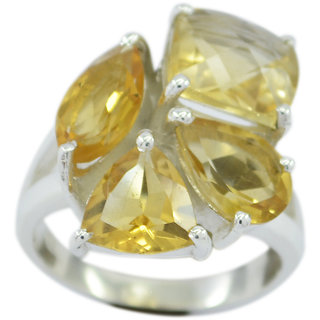 Citrine 925 Sterling Silver Ring taking Yellow jewellery Indian gift SRCIT-14318