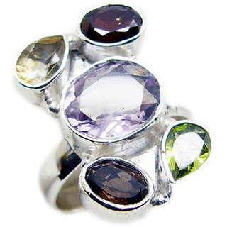 Multi Stone 925 Sterling Silver Ring fine Multicolor jewellery Indian gift SRMUL-53102