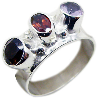 Multi Stone 925 Sterling Silver Ring glorious Multicolor jewelry Indian gift SRMUL-53050