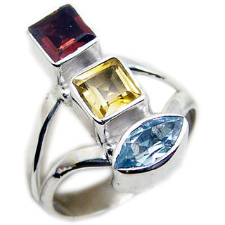 Multi Stone 925 Sterling Silver Ring  Multicolor  Indian gift SRMUL-53139