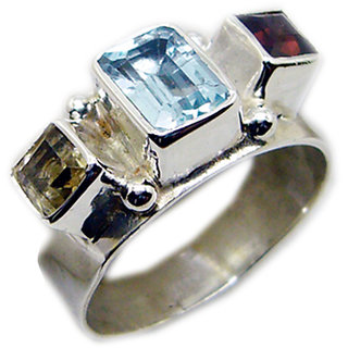 Multi Stone 925 Sterling Silver Ring  Multicolor  Indian gift SRMUL-53165
