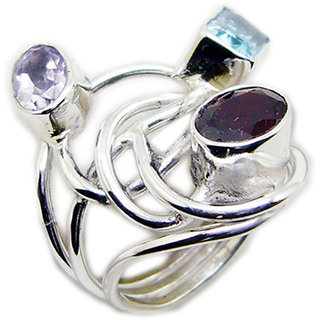 Multi Stone 925 Sterling Silver Ring  Multicolor  Indian gift SRMUL-53178