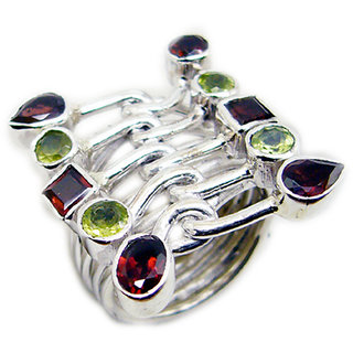 Multi Stone 925 Sterling Silver Ring  Multicolor  Indian gift SRMUL-53189