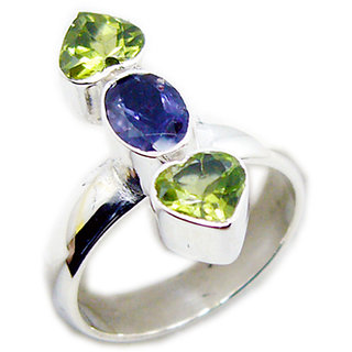 Multi Stone 925 Sterling Silver Ring  Multicolor  Indian gift SRMUL-53201